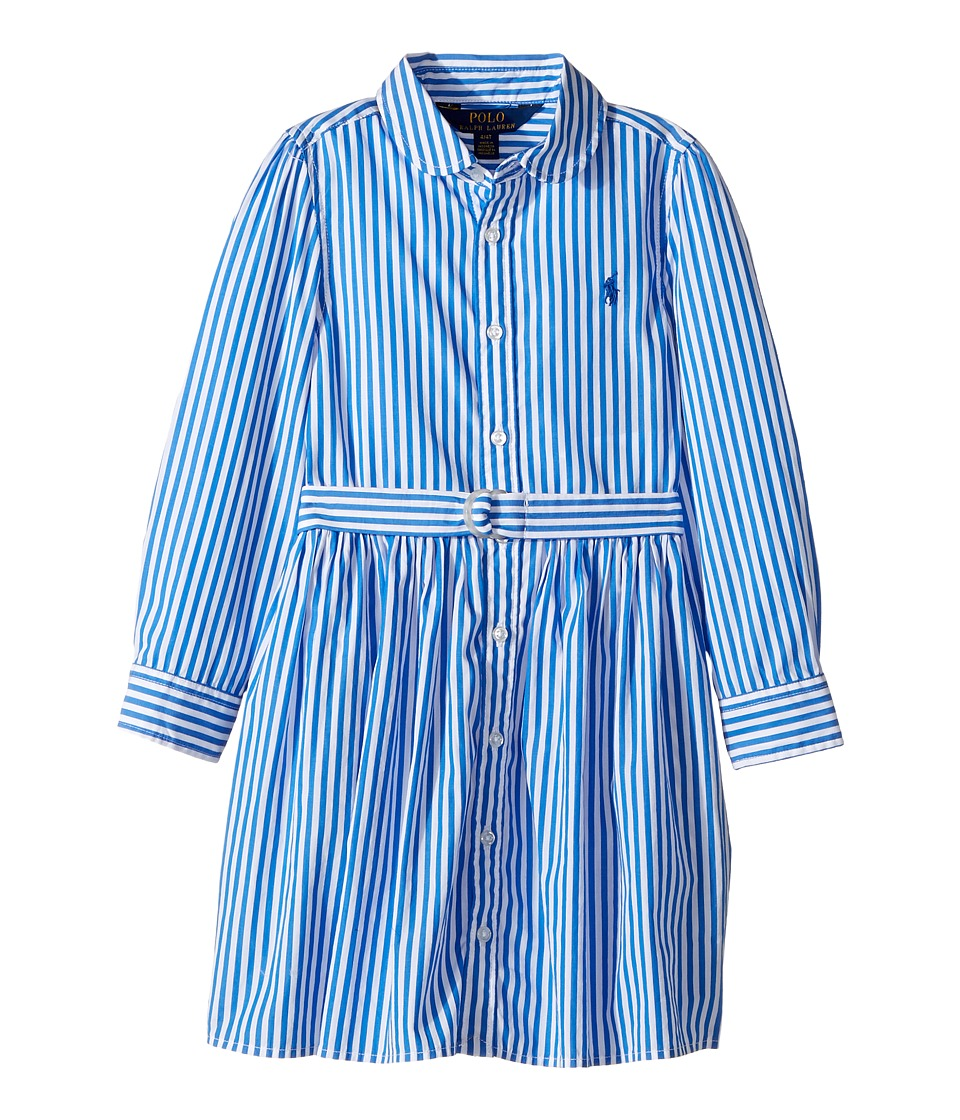 Polo Ralph Lauren Kids - Striped Cotton Shirtdress (Toddler) (Blue/White) Girl's Dress