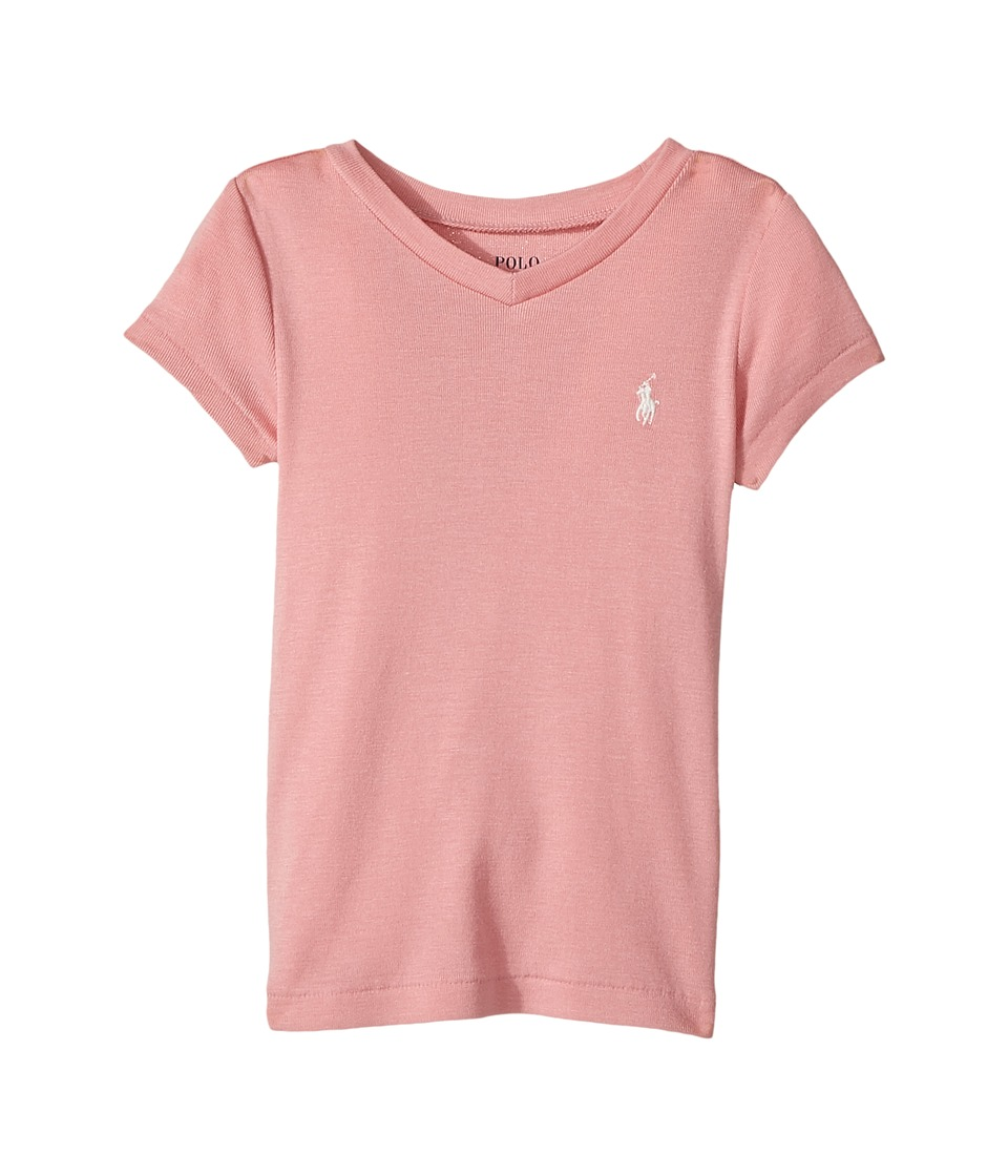 Polo Ralph Lauren Kids - Pima Cotton Blend V-Neck Tee (Toddler) (Rugby Pink) Girl's T Shirt