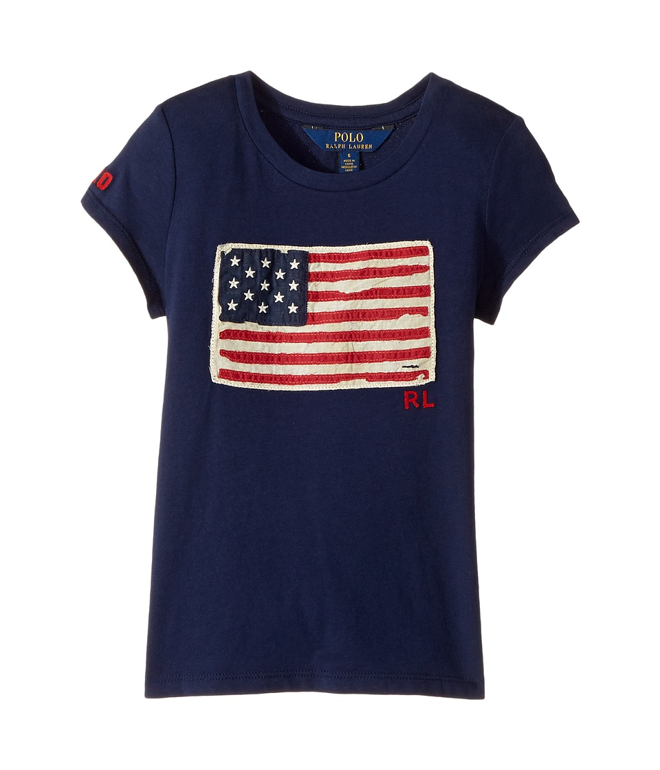 Polo Ralph Lauren Kids - Washed Cotton Graphic Tee (Little Kids) (Newport Navy) Girl's T Shirt