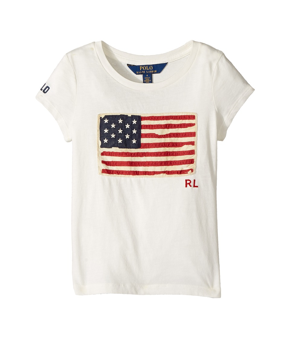 Polo Ralph Lauren Kids - Washed Cotton Graphic Tee (Little Kids) (Nevis) Girl's T Shirt