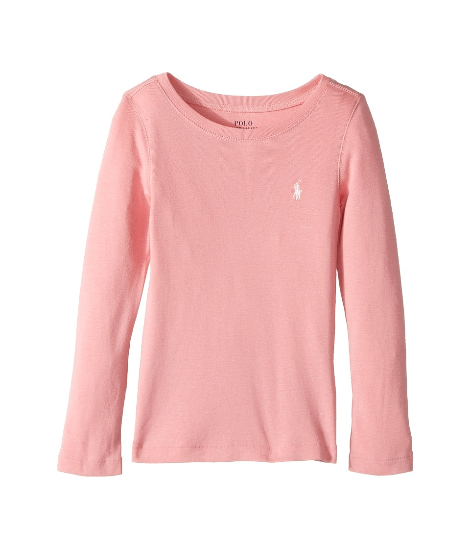 Polo Ralph Lauren Kids - Cotton Blend Long Sleeve Tee (Little Kids) (Rugby Pink) Girl's T Shirt