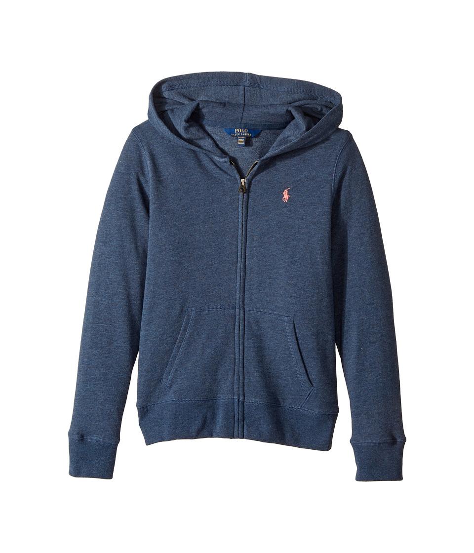 Polo Ralph Lauren Kids - French Terry Full Zip Hoodie (Little Kids/Big Kids) (Indigo Heather Blue) Girl's Sweatshirt