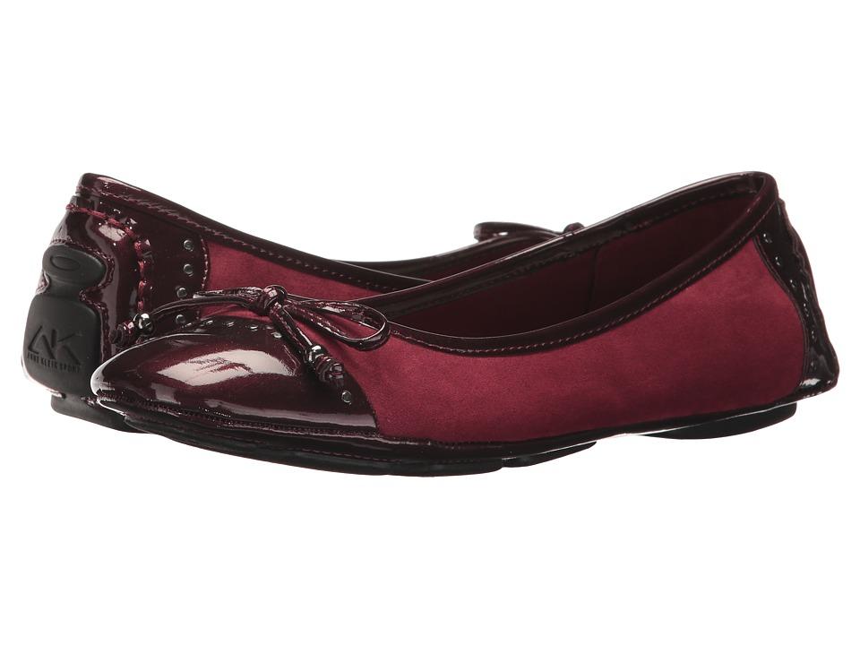 Anne Klein Buttons Flat (Dark Wine Fabric) Women