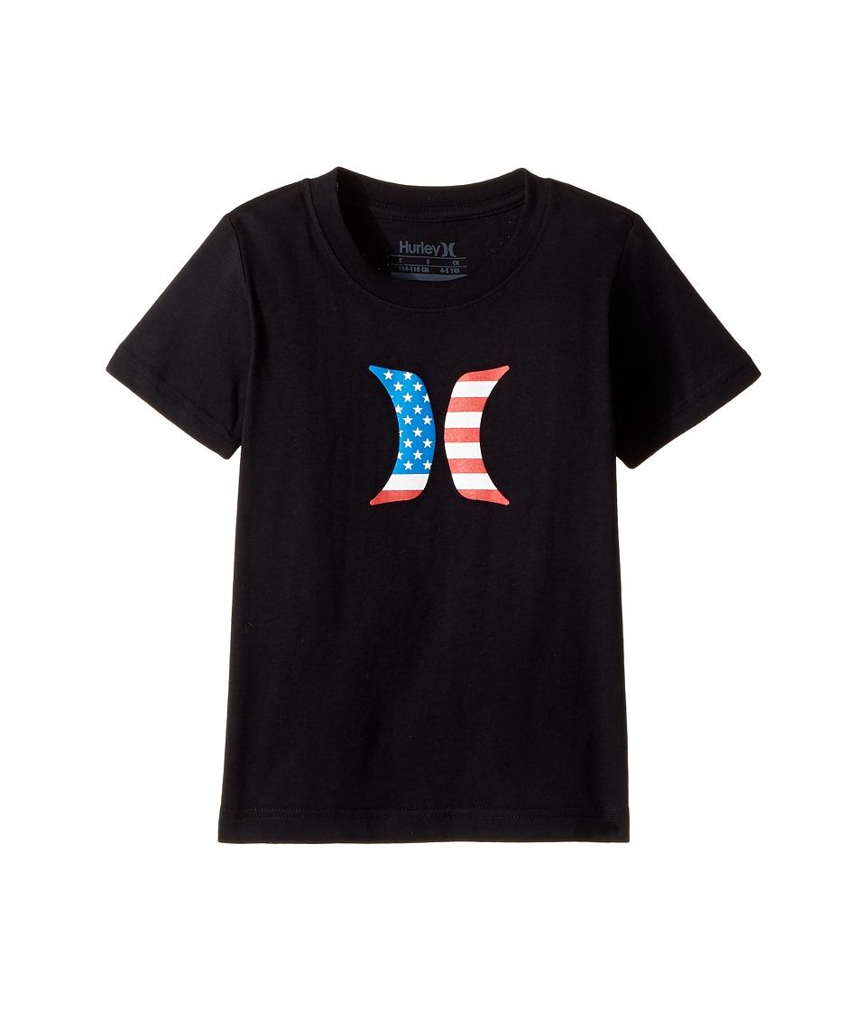 Hurley Kids - Icon Flag Fill Short Sleeve Tee (Little Kids) (Black) Boy's T Shirt