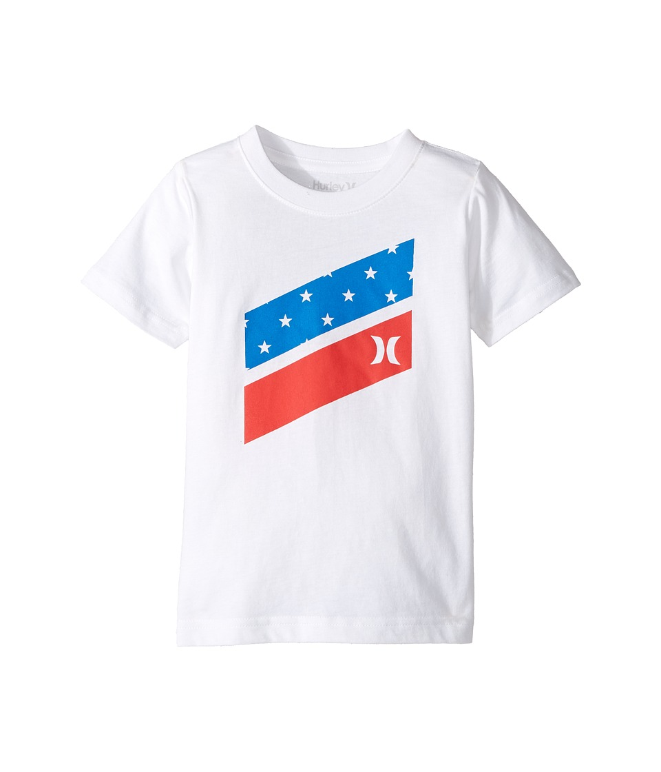 Hurley Kids - Icon Slash Flag Fill Short Sleeve Tee (Little Kids) (White) Boy's T Shirt