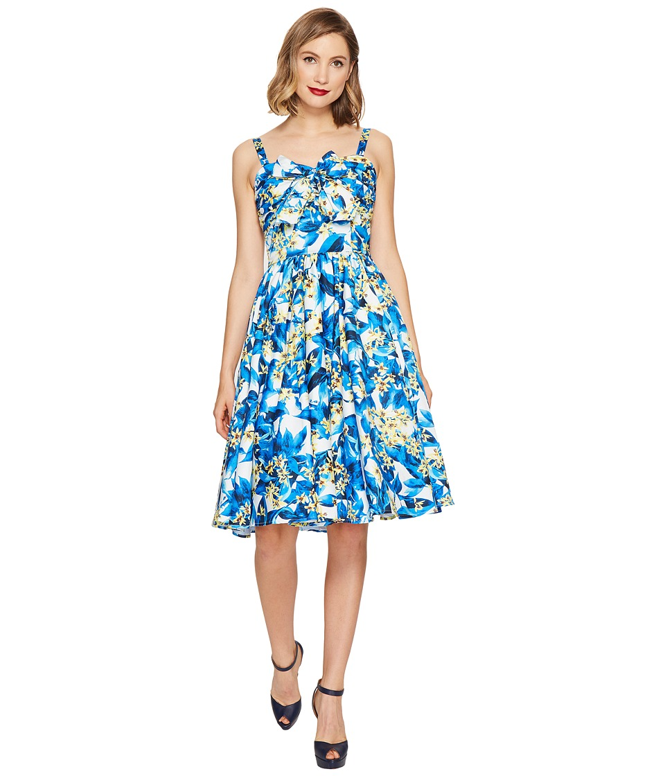 Unique Vintage - Golightly Bow Swing Dress (Blue/Yellow Floral) Women's Dress