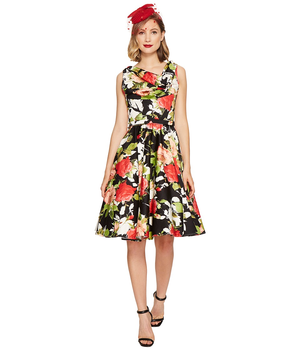 Unique Vintage - Blanc Noir Dress (Black/Red Floral) Women's Dress