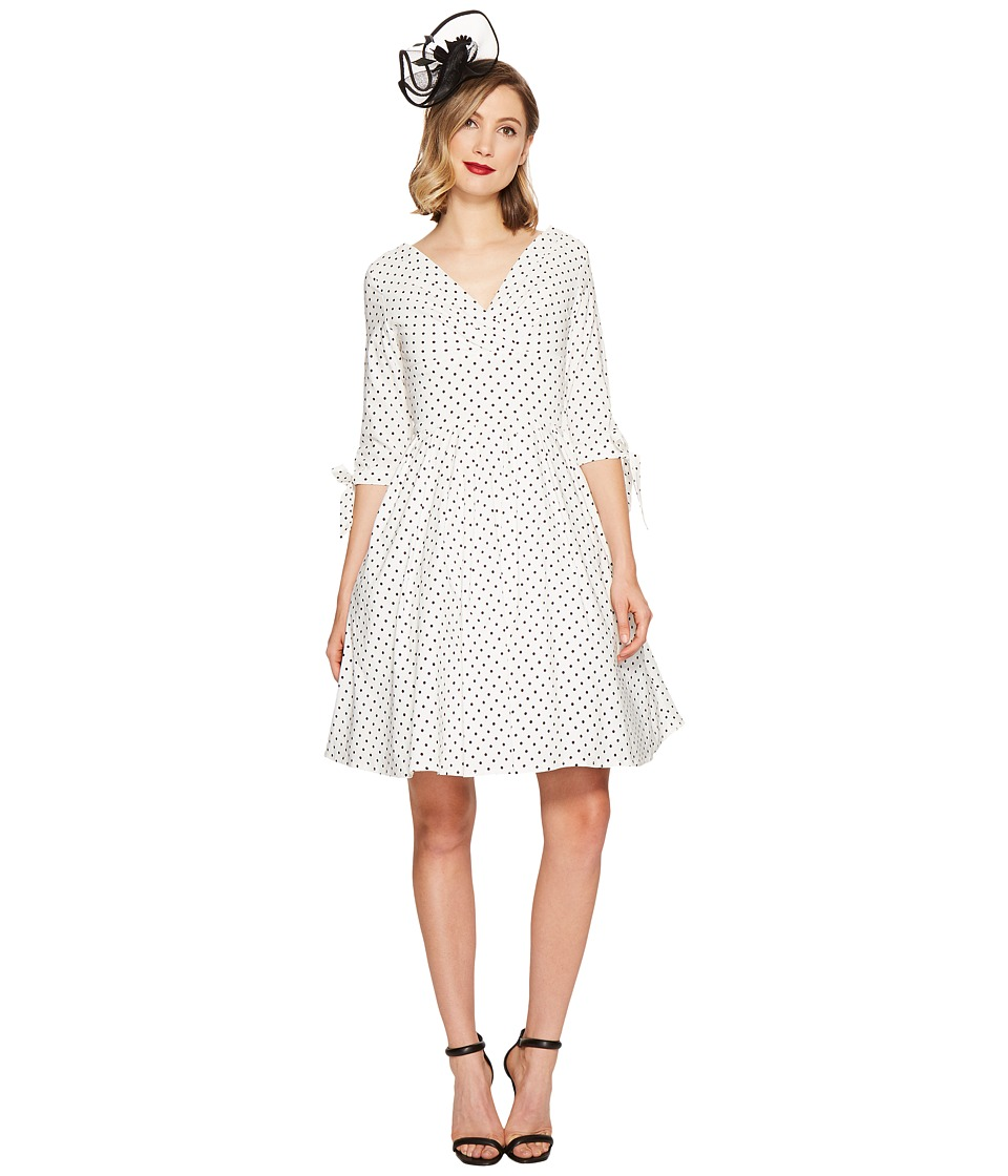 Unique Vintage Diane Swing Dress (White/Black Dot) Women
