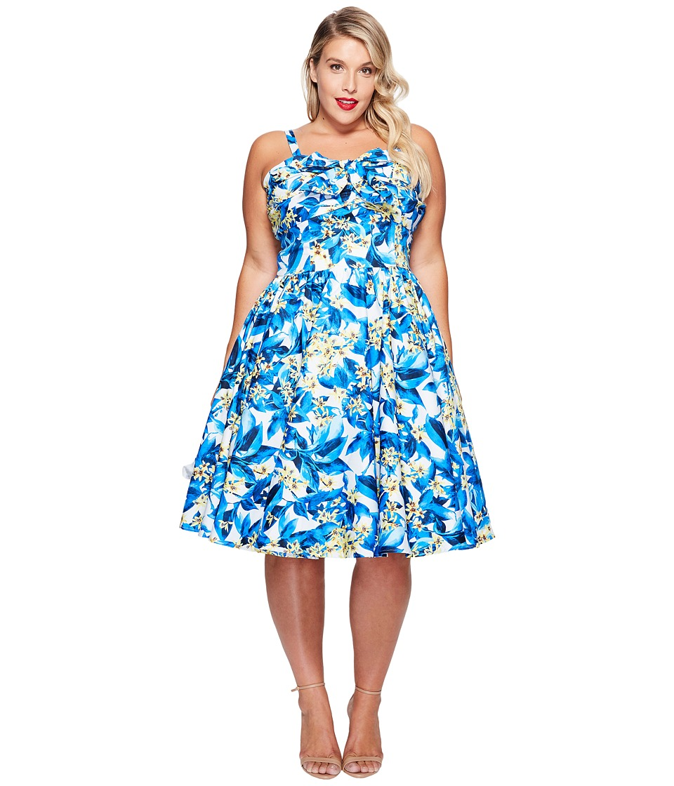Unique Vintage - Plus Size Golightly Bow Swing Dress (Blue/Yellow Floral) Women's Dress