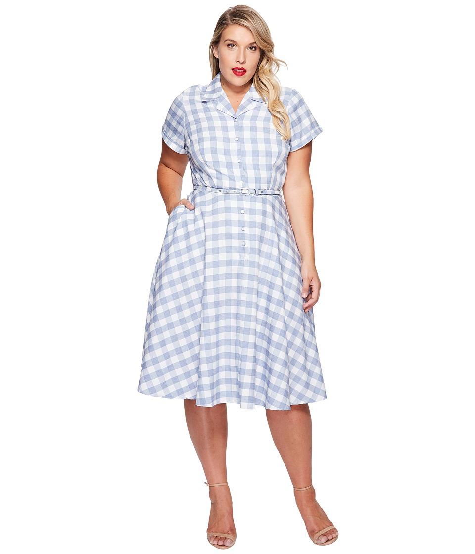 Unique Vintage - Plus Size Alexis Shirtdress (Gingham Print) Women's Dress