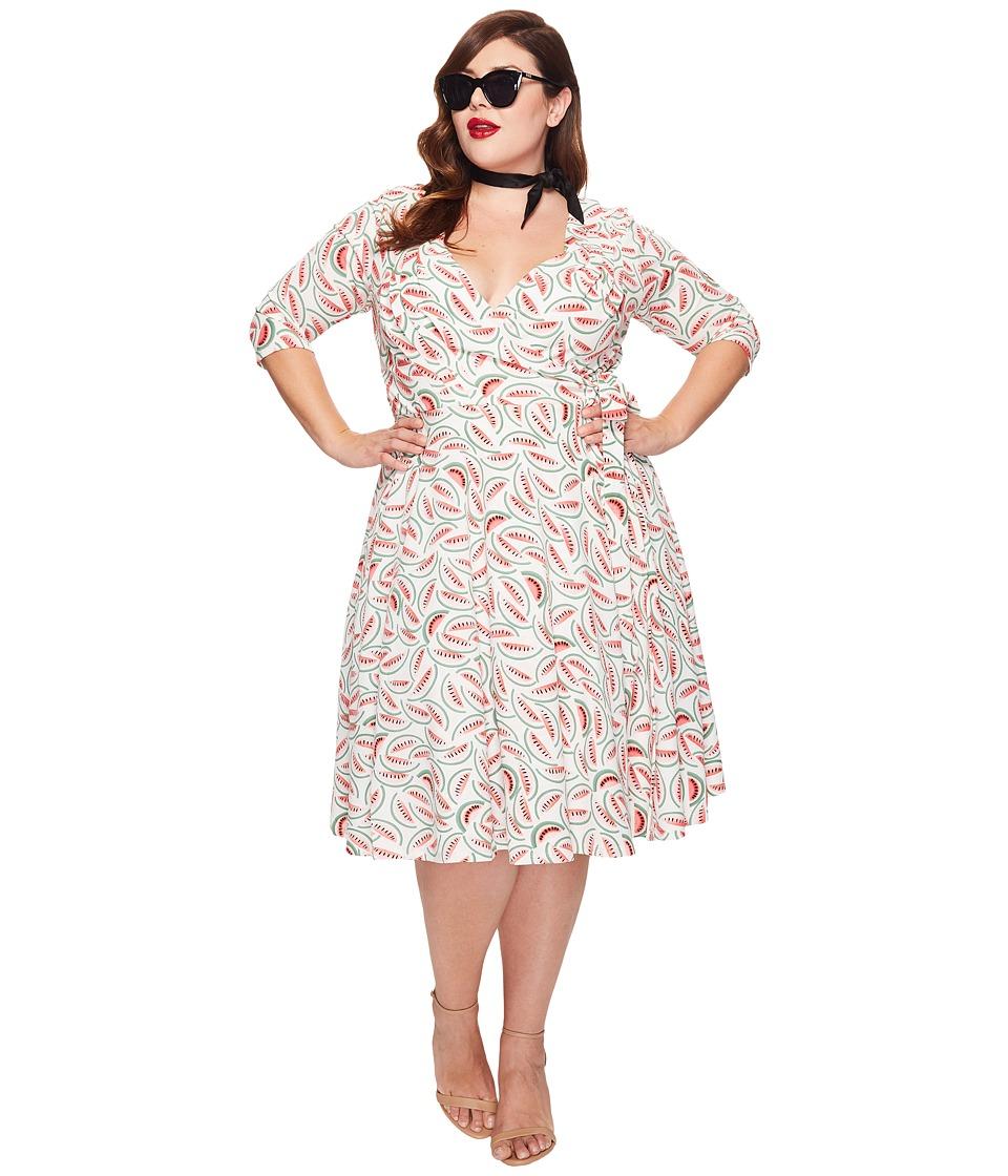 Unique Vintage - Plus Size Kelsie Wrap Dress (Watermelon Print) Women's Dress