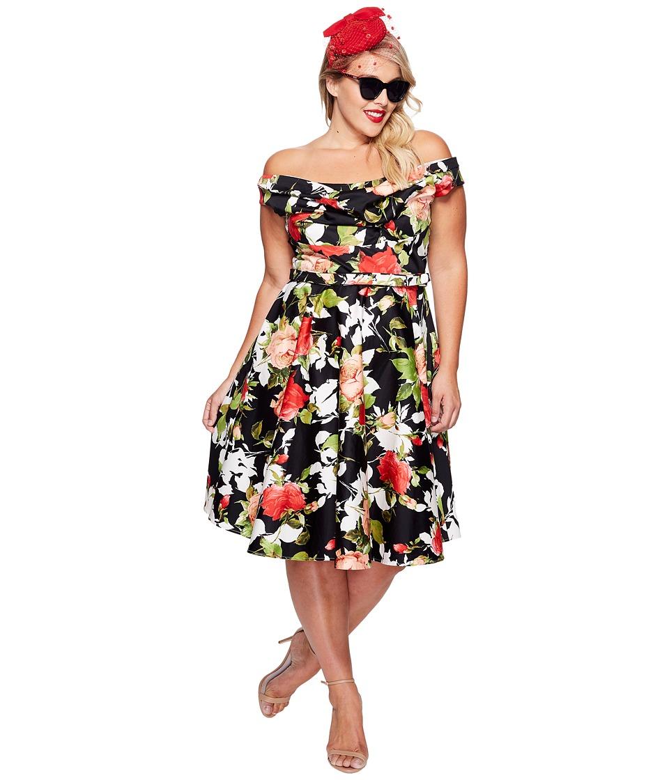 Unique Vintage - Plus Size Blanc Noir Dress (Black/Red Floral) Women's Dress