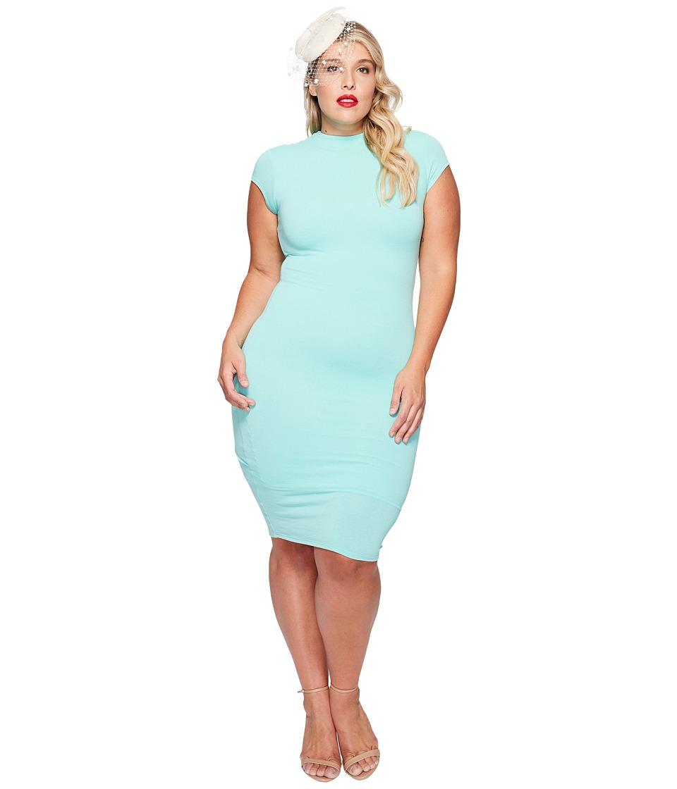Unique Vintage - Plus Size Holly Wiggle Dress (Dark Mint) Women's Dress
