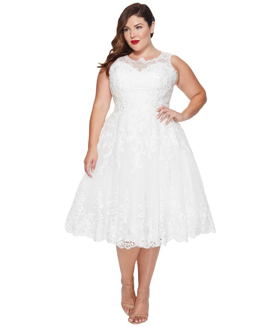 Unique Vintage - Plus Size Riviera Lace Tulle Bridal Dress (White) Women's Dress