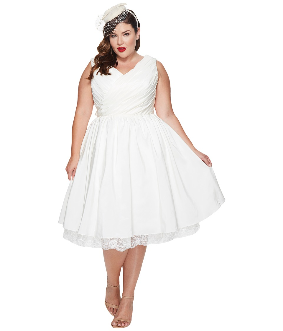 Unique Vintage - Plus Size Marseille Tea Length Dress (White) Women's Dress