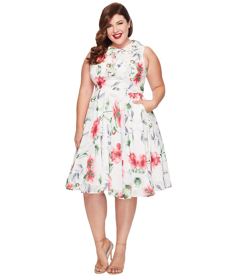 Unique Vintage - Plus Size Chiffon Olson Dress (Floral Print) Women's Dress