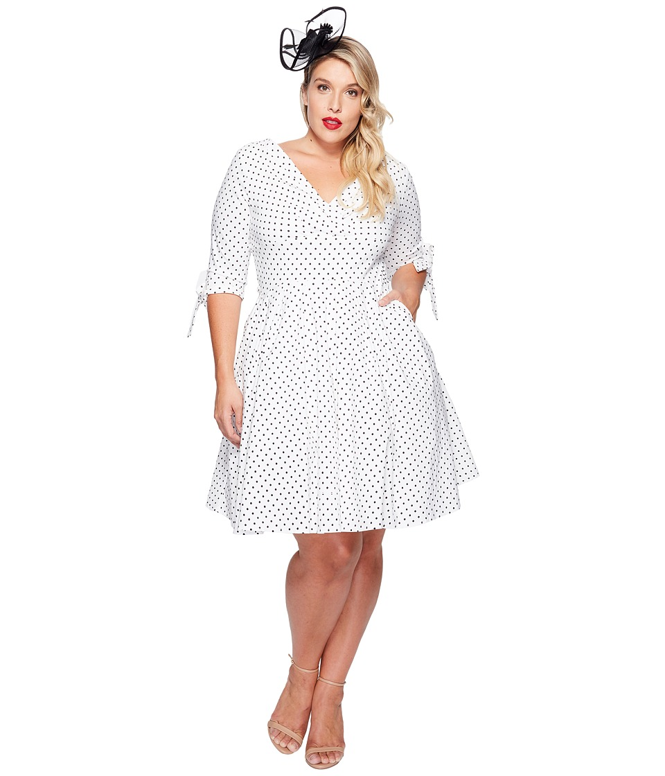Unique Vintage - Plus Size Diane Swing Dress (White/Black Dot) Women's Dress