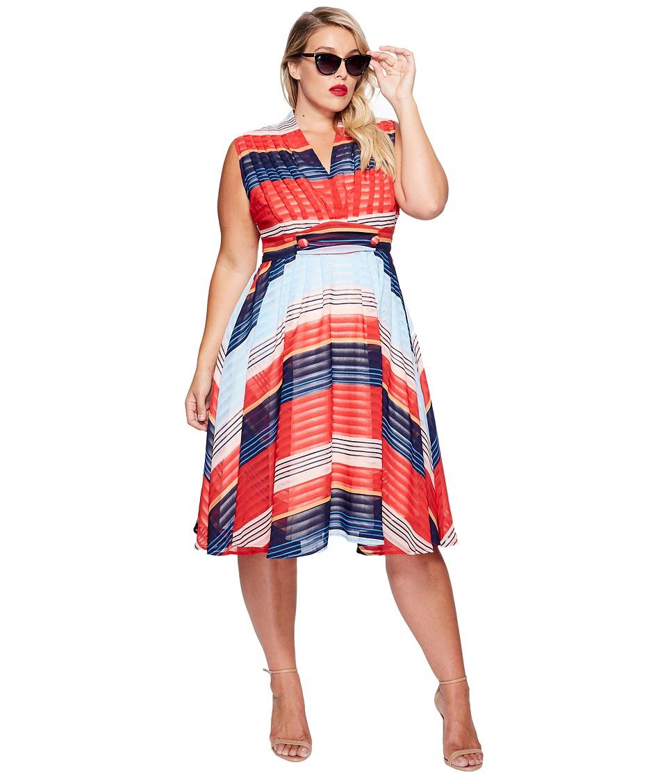 Unique Vintage - Plus Size De Carlo Dress (Stripes) Women's Dress