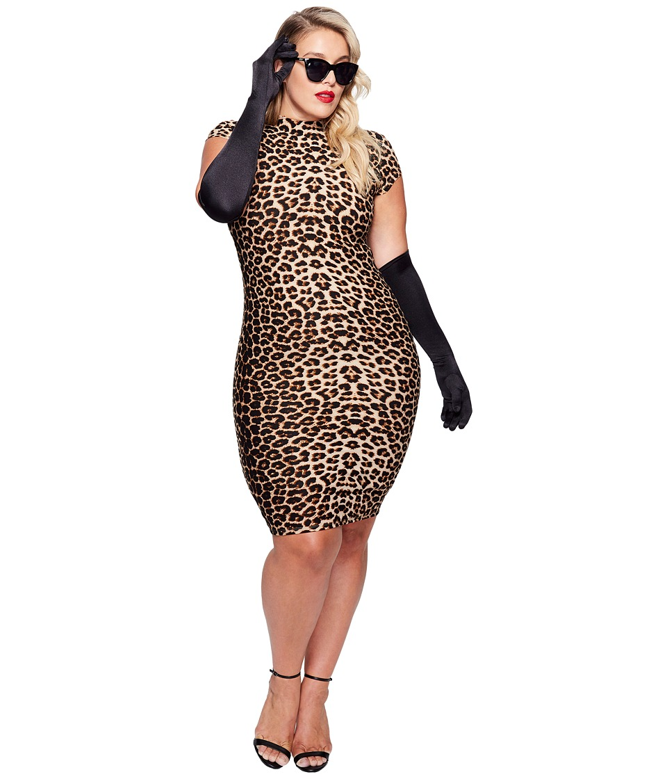 Unique Vintage - Plus Size Holly Wiggle Dress (Leopard) Women's Dress