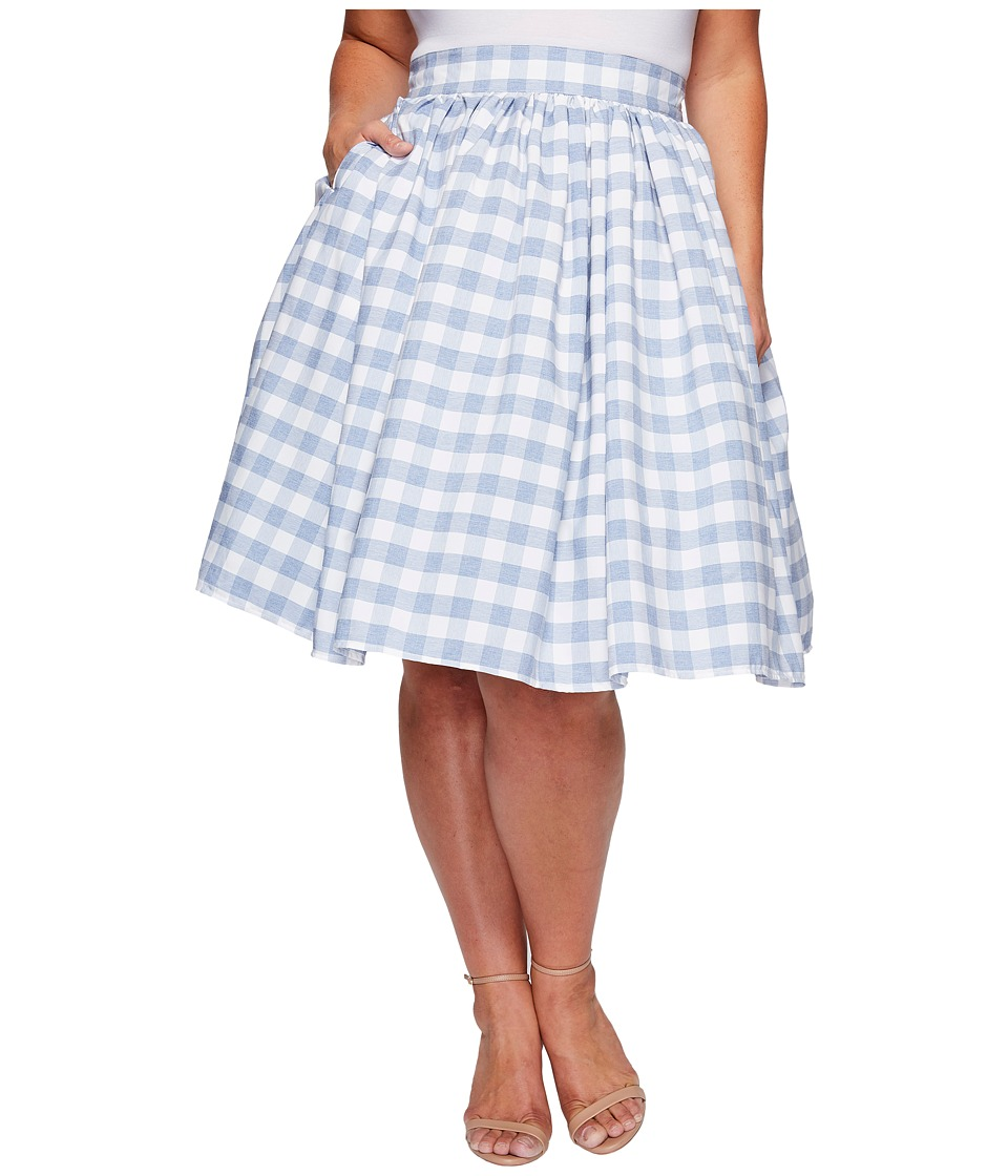 Unique Vintage - Plus Size High Waist Swing Skirt (Gingham Print) Women's Skirt