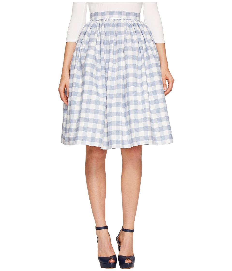 Unique Vintage - High Waist Swing Skirt (Gingham Print) Women's Skirt