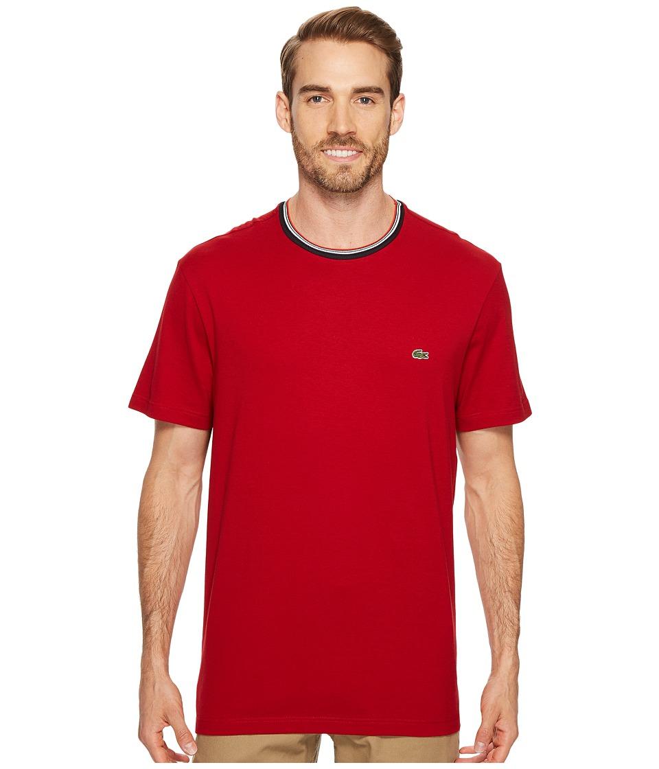 Lacoste Short Sleeve Semi Fancy Jersey Tee Regular Fit (Ladybird) Men