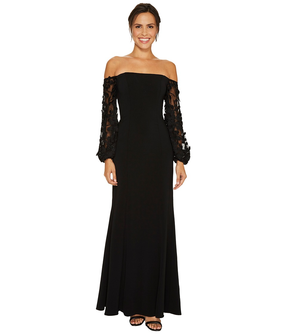 Laundry by Shelli Segal Off the Shoulder Gown with Applique Sleeve Black Dress