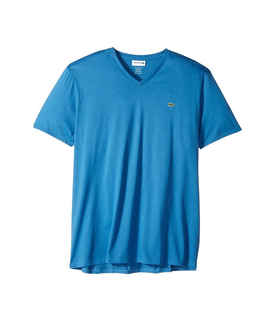 Lacoste - S/S Pima Jersey V-Neck T-Shirt (Medway) Men's Short Sleeve Pullover