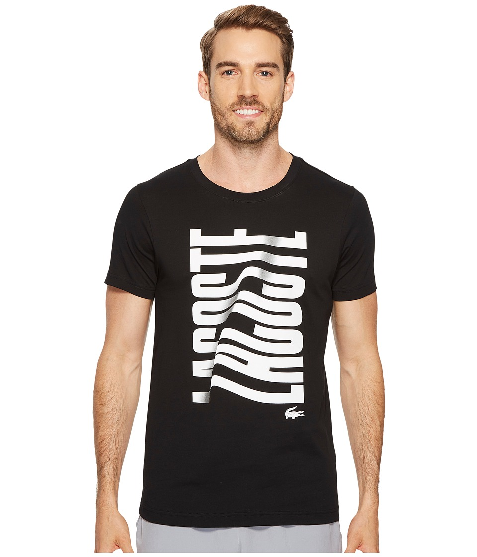 Lacoste Short Sleeve Vertical Lacoste Graphic T-Shirt (Black/White) Men