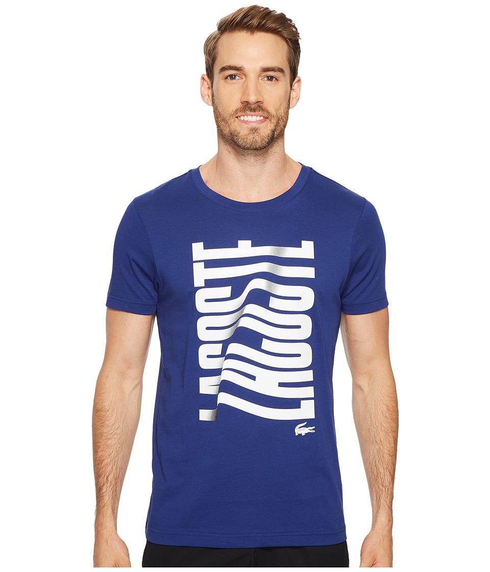 Lacoste Short Sleeve Vertical Lacoste Graphic T-Shirt (Ocean/White) Men