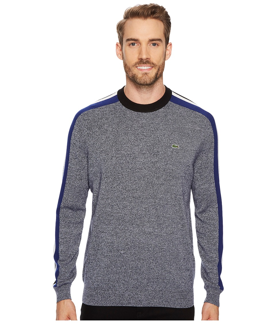 Lacoste Mouline Jersey Jacquard Wool Blend Sweater with Stripes On Sleeve (Mouline/Navy Blue/Black/Flour/Methylene) Men
