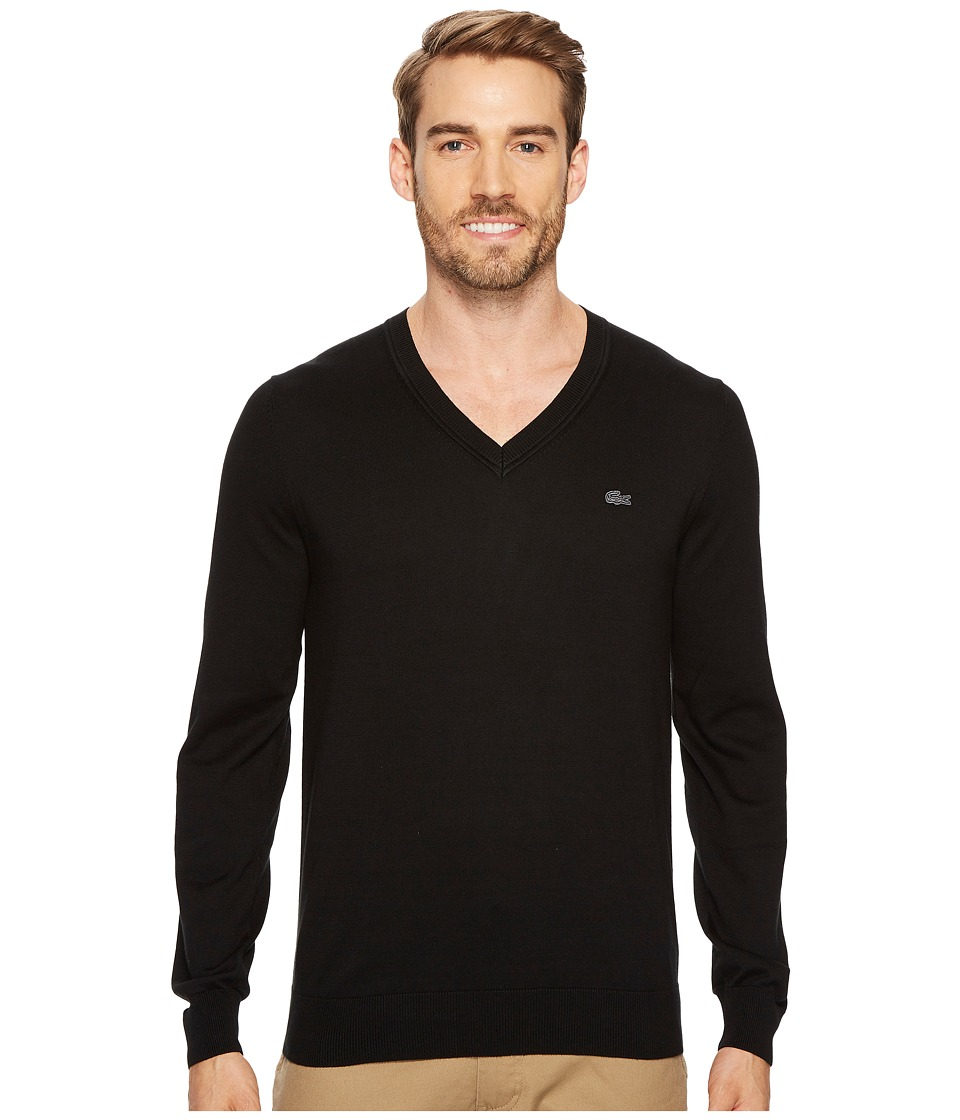 Lacoste Cotton Jersey V-Neck Sweater (Black) Men