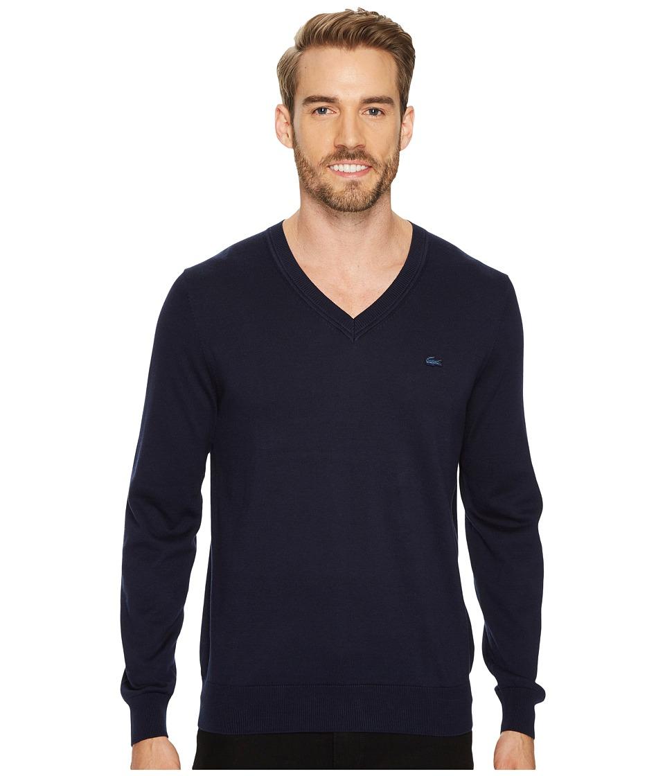 Lacoste Cotton Jersey V-Neck Sweater (Navy Blue) Men