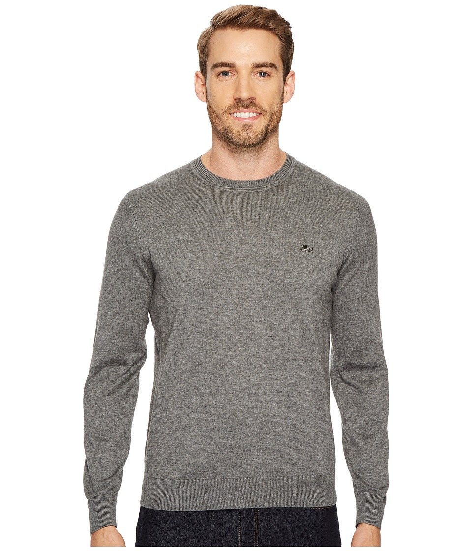 Lacoste 100% Cotton Jersey Crew Neck Sweater (Galaxite Chine) Men