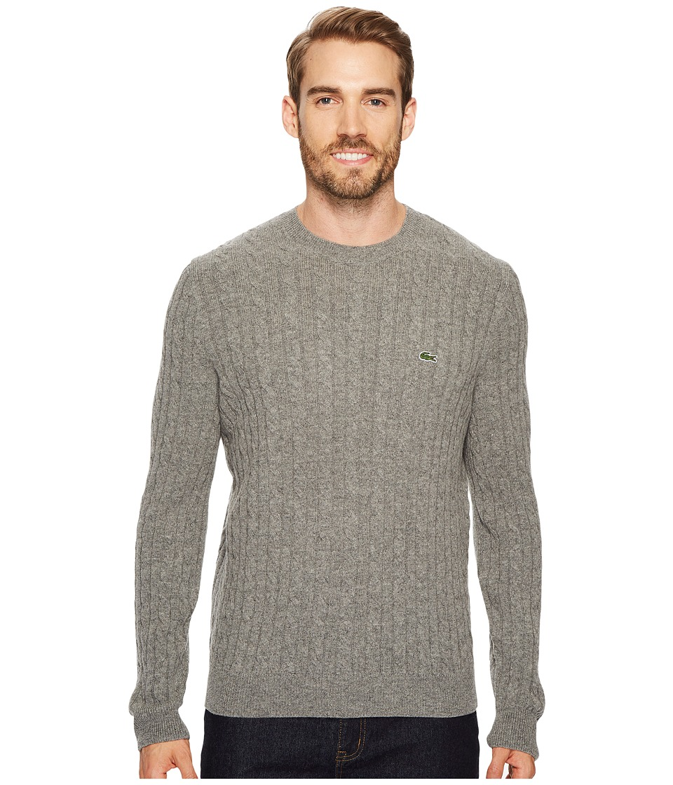 Lacoste Cable Stitch Wool Sweater with Green Croc New Cable Pattern (Stone Chine) Men