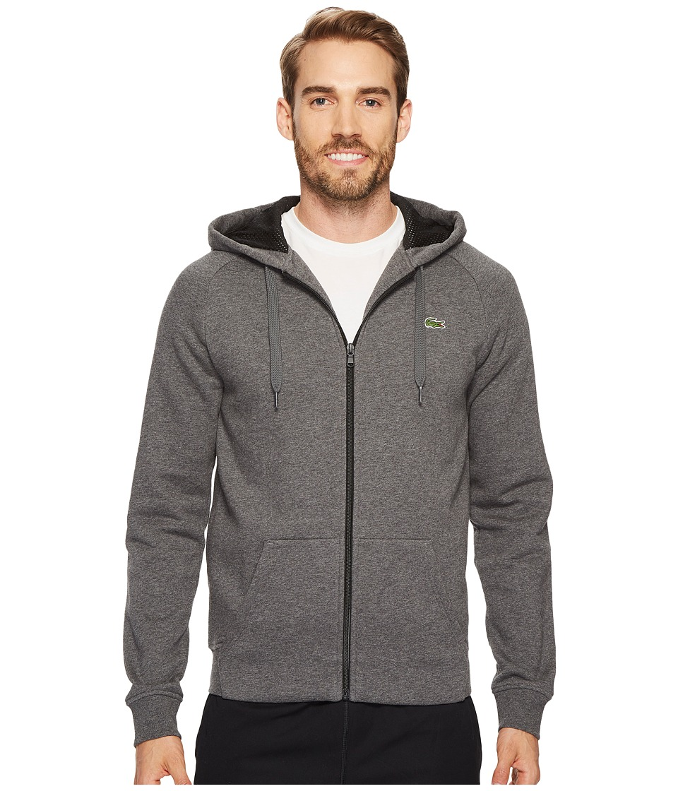 Lacoste - Brushed Fleece Full Zip Hoodie Sweatshirt with 3D Print On Hood (Pitch/Black) Men's Sweatshirt