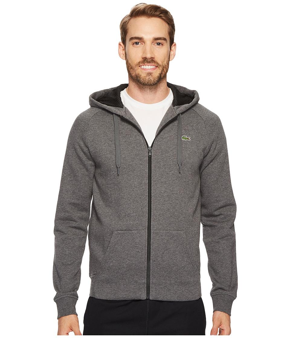 Lacoste - Brushed Fleece Full Zip Hoodie Sweatshirt with 3D Print On Hood (Pitch/Black) Men's Sweatshirt