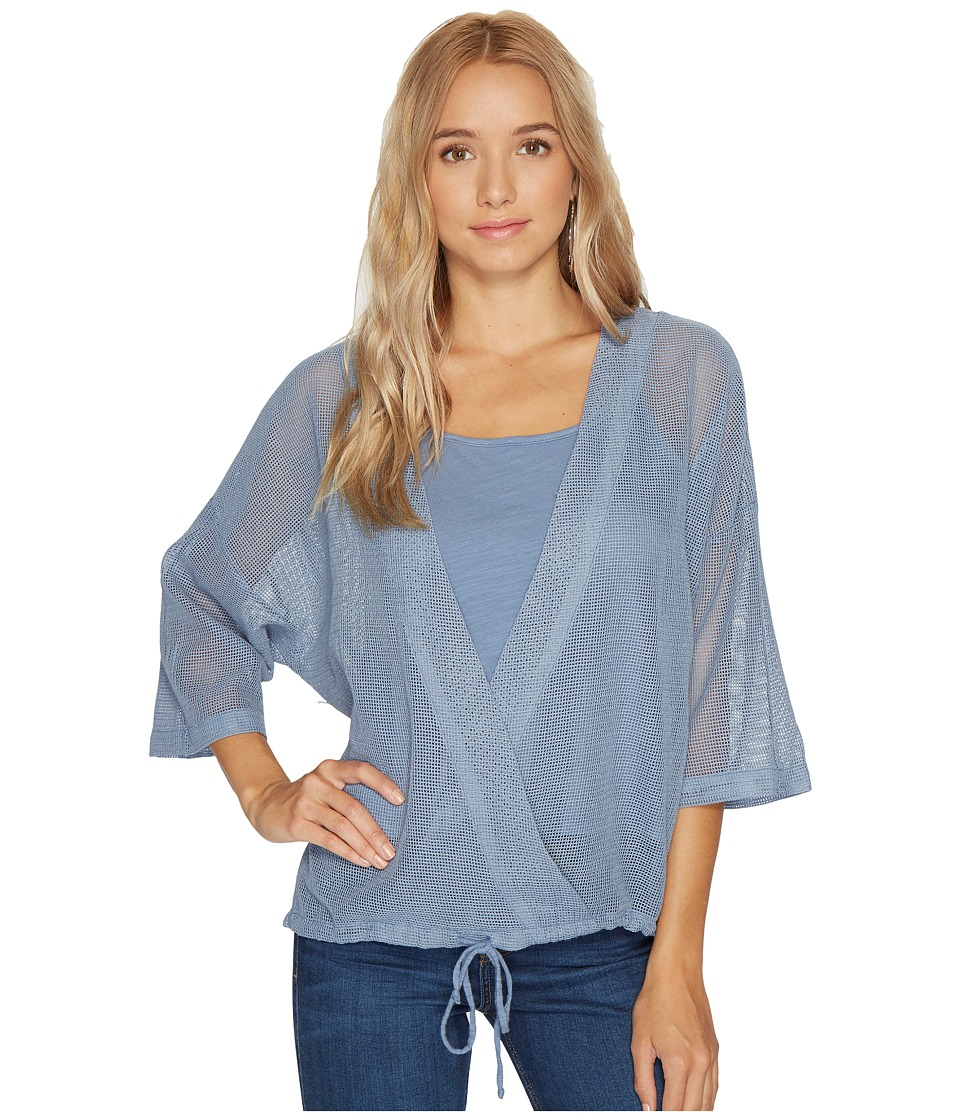 HEATHER - Cyndi Square Mesh Wrap Top (French Blue) Women's Clothing