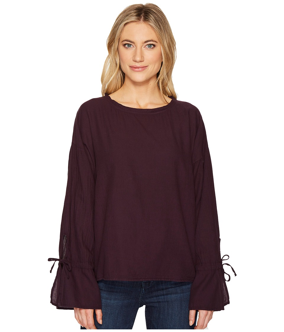 HEATHER - Liberty Twill Voile Tie Sleeve Top (Plum) Women's Clothing