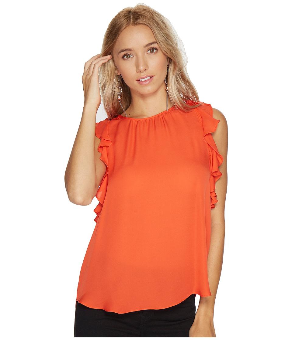 HEATHER - Florence Silk Frill Sleeve Tank Top (Papaya) Women's Clothing