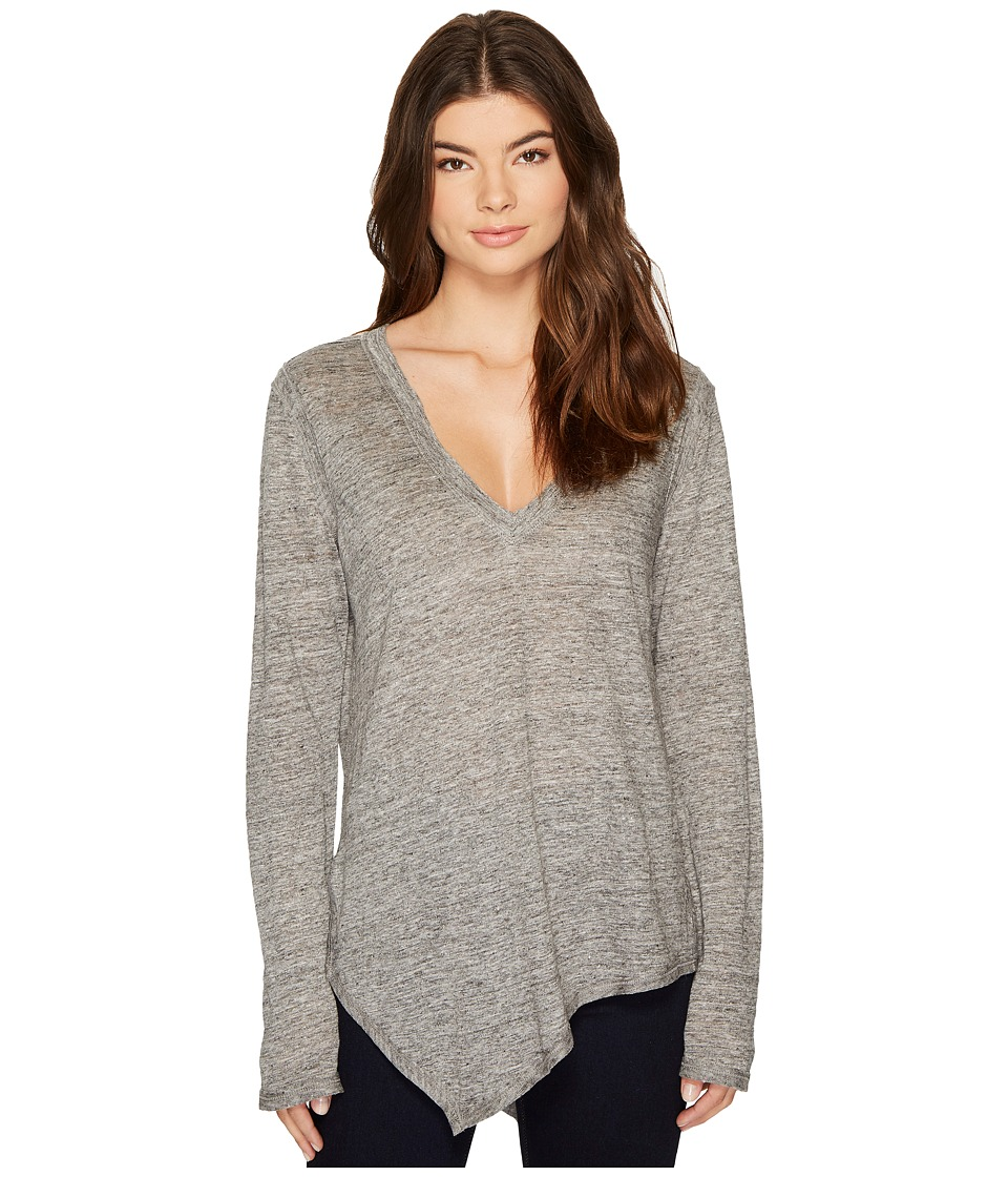 HEATHER - Uma Linen Asymmetrical Long Sleeve Top (Light Heather Grey) Women's Clothing