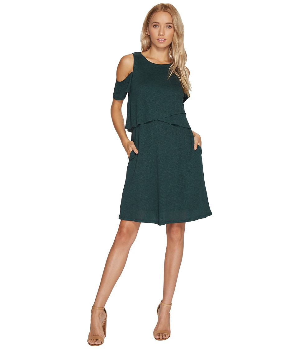HEATHER - Mira Linen Cold Shoulder Swing Dress (Evergreen) Women's Dress