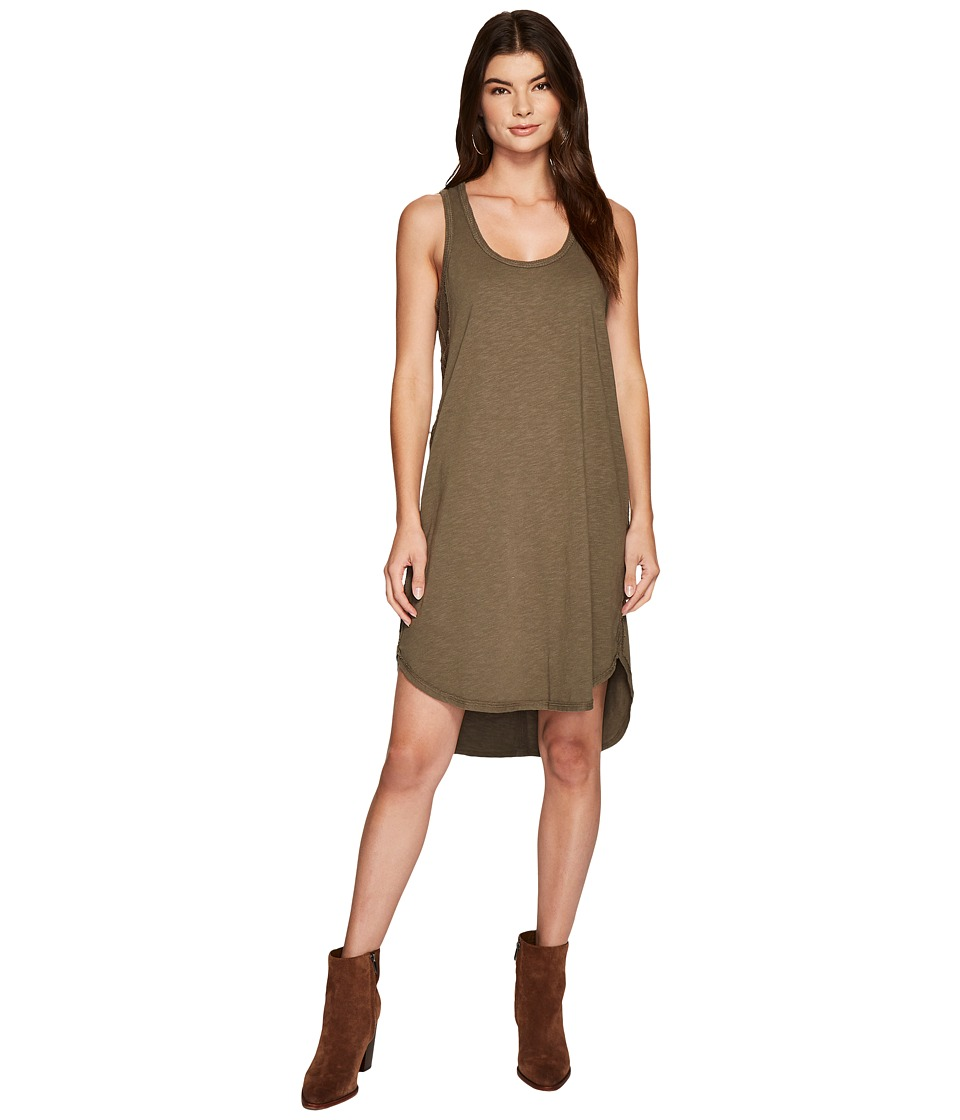 HEATHER Rib Panel Scoop Neck Tank Dress (Avocado) Women