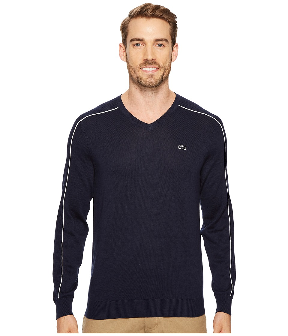 Lacoste Jersey and Pique Sweater with White Outlined Croc (Navy Blue/Flour) Men