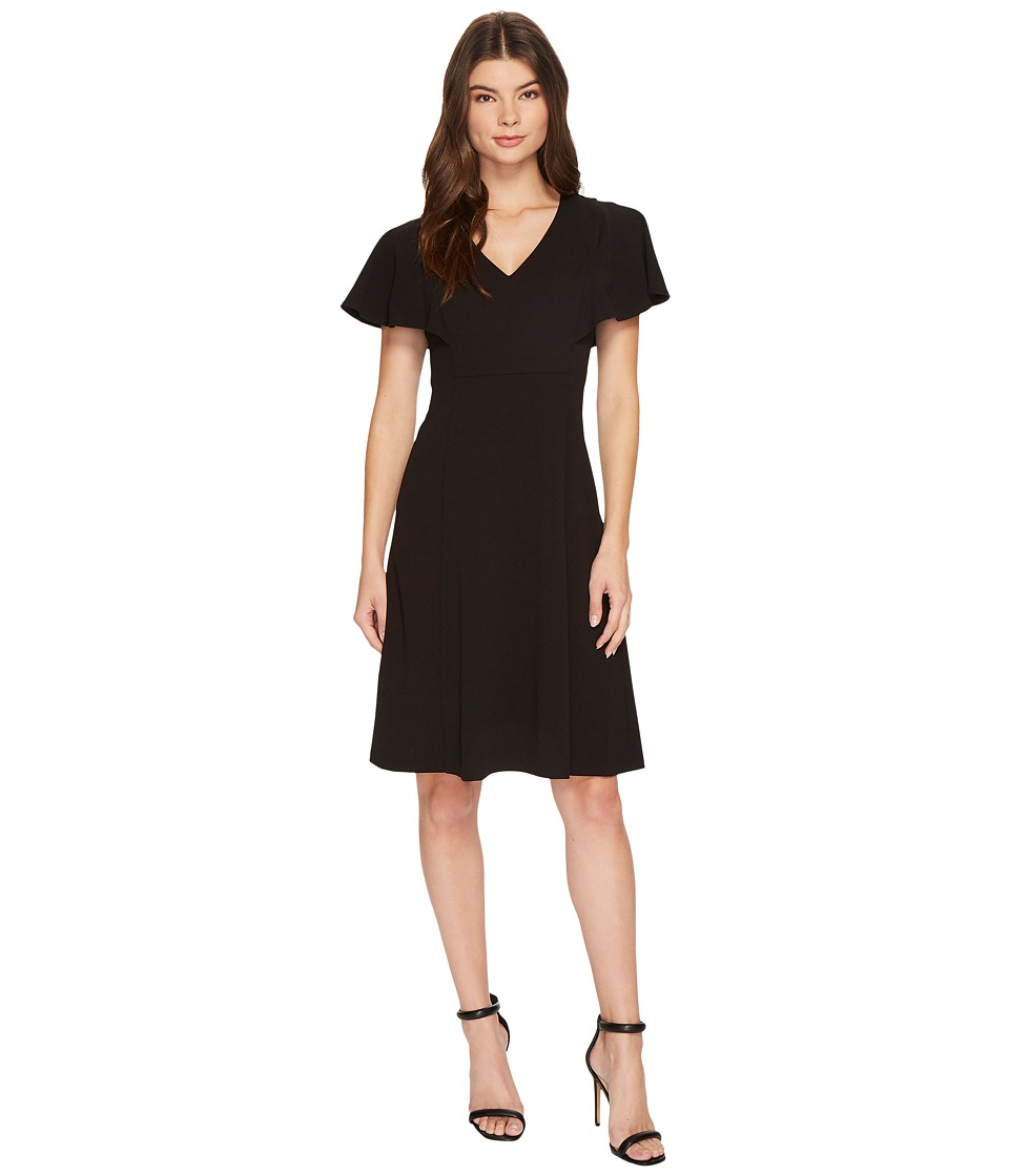 Calvin Klein V-Neck Flutter Sleeve Fit Flare Dress