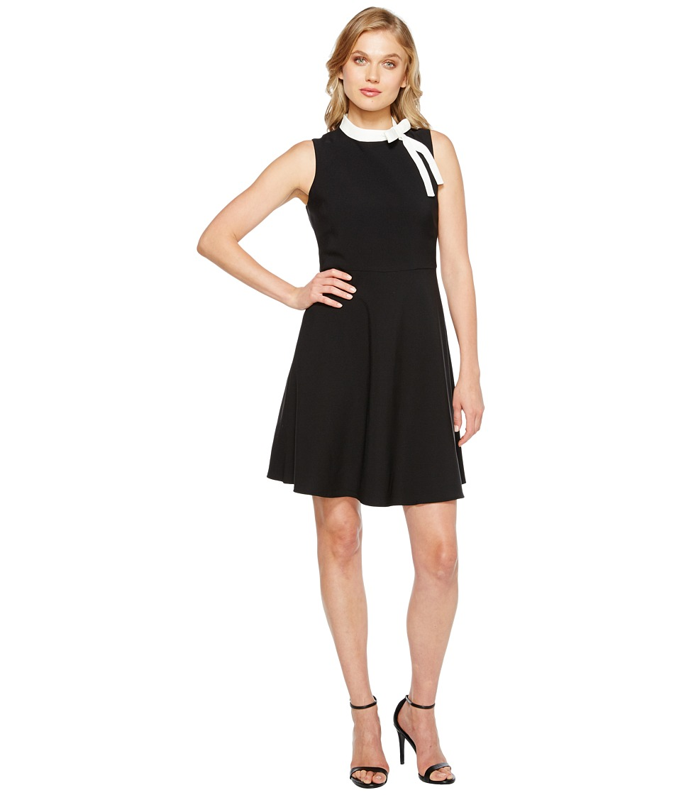 Maggy London - Crepe Fit and Flare with Neck Tie (Black/Soft White) Women's Dress