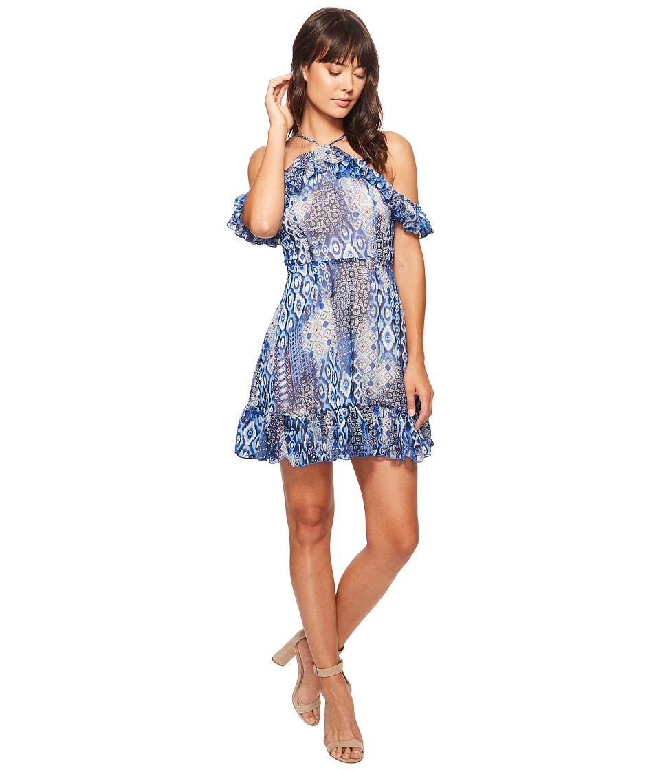 ROMEO & JULIET COUTURE - Aztec Off the Shoulder Dress (Blue/Blush) Women's Dress