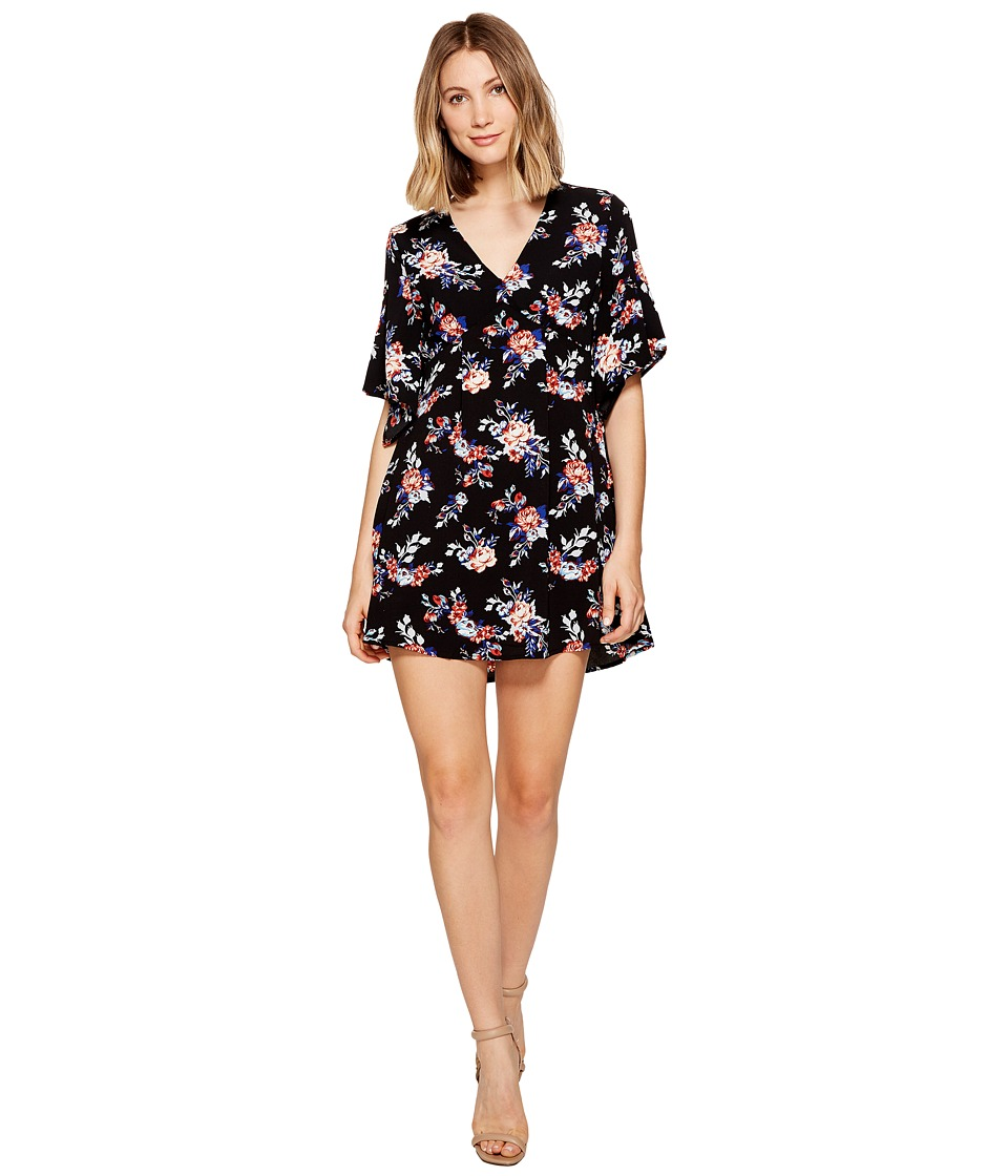 ROMEO & JULIET COUTURE - Floral V-Neck Dress (Black Multi) Women's Dress