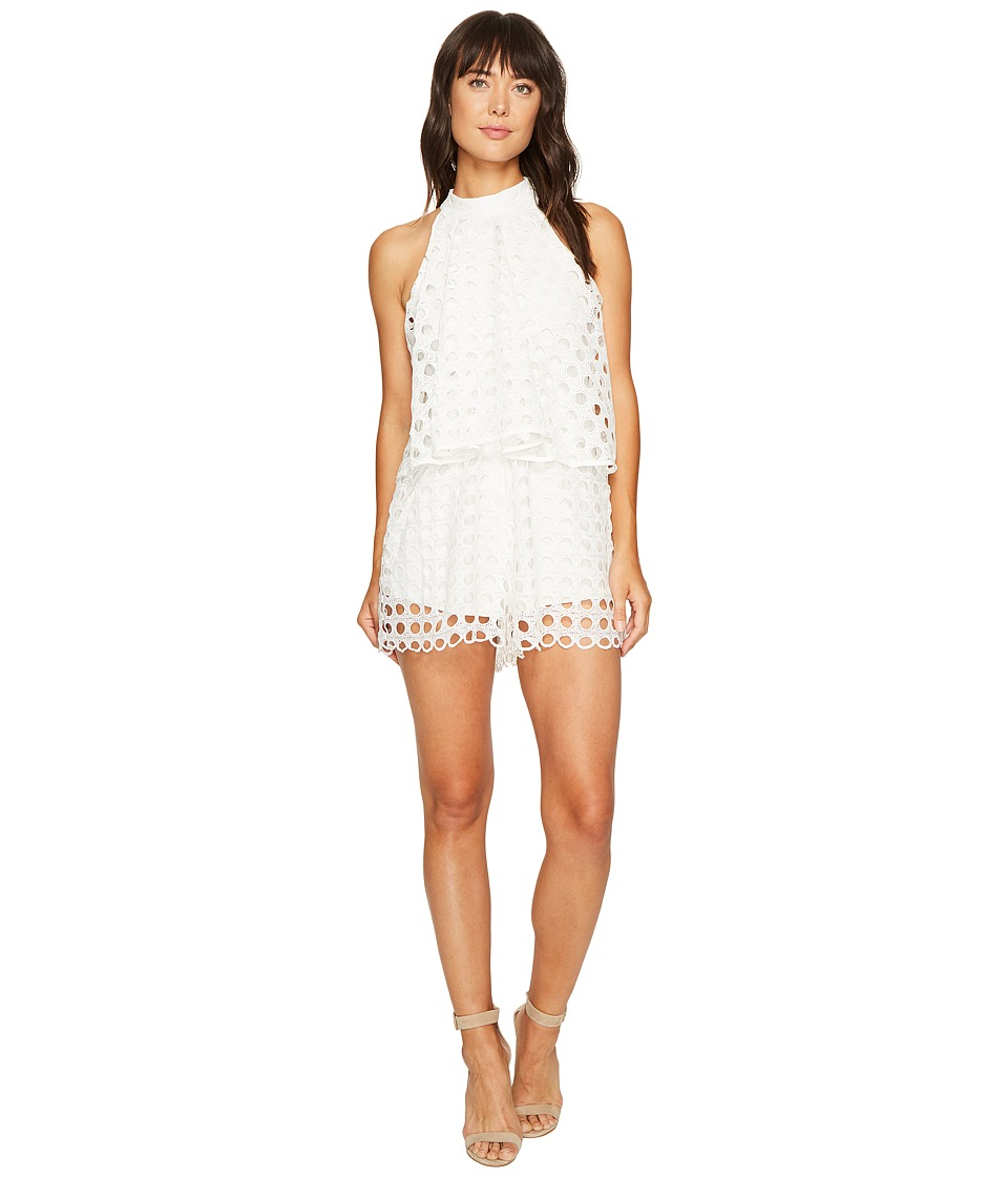 ROMEO & JULIET COUTURE - Eyelet Pop-Over Romper (White) Women's Jumpsuit & Rompers One Piece