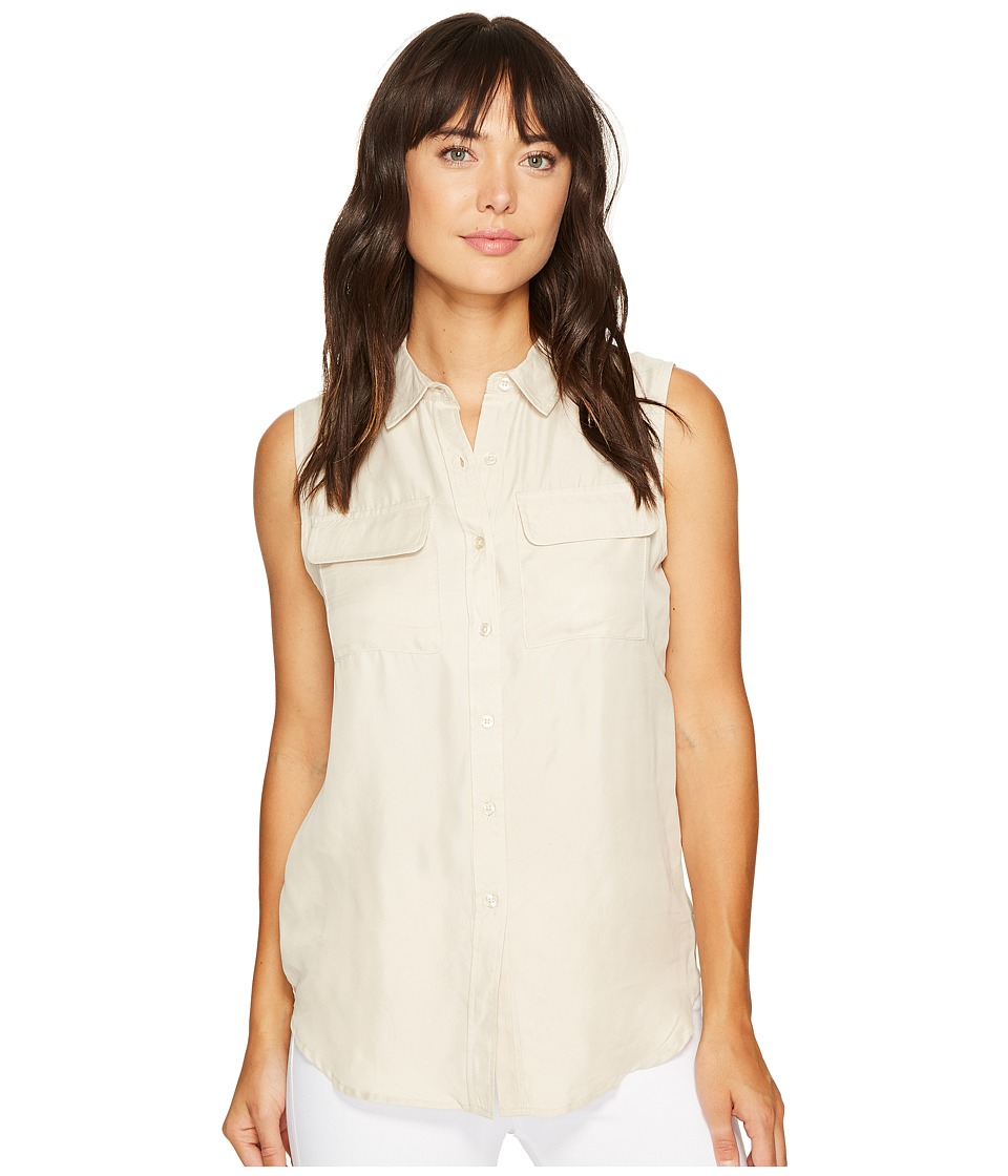 ROMEO & JULIET COUTURE - Sleeveless Button-Up Shirt (Khaki) Women's Sleeveless